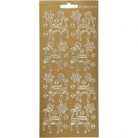 Sticker, Hirsche, 10x23 cm, Gold, 1 Bl.