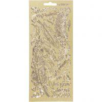 Sticker, Federn, 10x23 cm, Gold, 1 Bl.