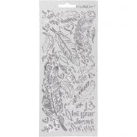 Sticker, Federn, 10x23 cm, Silber, 1 Bl.
