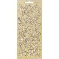 Sticker, Schmetterlinge, 10x23 cm, Gold, 1 Bl.