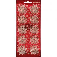 Sticker, Weihnachtssterne, 10x23 cm, Gold, Transparent Rot, 1 Bl.
