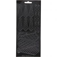 Sticker, Krawatten, 10x23 cm, Schwarz, 1 Bl.
