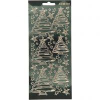 Sticker, Weihnachtsbäume, 10x23 cm, Gold, 1 Bl.