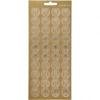 Sticker, Leier, 10x23 cm, Gold, 1 Bl.