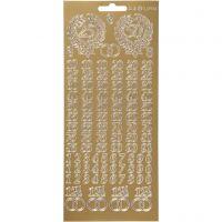 Sticker, Jubiläums-Zahlen, 10x23 cm, Gold, 1 Bl.