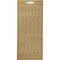Sticker, Zahlen, 10x23 cm, Gold, 1 Bl.