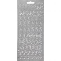 Sticker, Zahlen, 10x23 cm, Silber, 1 Bl.