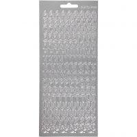 Sticker, Buchstaben, 10x23 cm, Silber, 1 Bl.