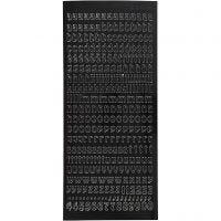 Sticker, Kleine Buchstaben, 10x23 cm, Schwarz, 1 Bl.