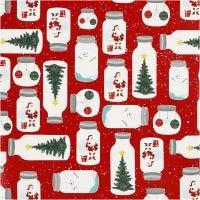 Geschenkpapier, Weihnachten im Glas, B: 57 cm, 80 g, 150 m/ 1 Rolle