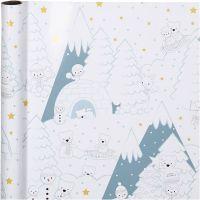 Geschenkpapier, Weihnachten am Nordpol, B: 70 cm, 80 g, 4 m/ 1 Rolle