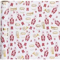 Geschenkpapier, Nussknacker, B: 70 cm, 80 g, Gold, Rot, Weiß, 2 m/ 1 Rolle