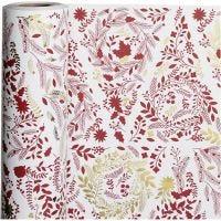 Geschenkpapier, Weihnachtsbäume, B: 50 cm, 80 g, Gold, Rot, Weiß, 100 m/ 1 Rolle