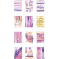 Kalendereinlagen, A5, 12 , Gold, Flieder, Rosa, 1 Stk/ 1 Pck