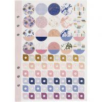 Sticker-Buch, Blumen, A5, Gold, Flieder, Rosa, 1 Stk/ 1 Pck