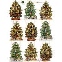 Vintage-Glanzbilder, Weihnachtsbaum, 16,5x23,5 cm, 3 Bl./ 1 Pck