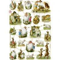 Vintage-Glanzbilder, Ostern auf dem Land, 16,5x23,5 cm, 3 Bl./ 1 Pck