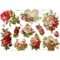 Vintage-Glanzbilder, Rosen, 16,5x23,5 cm, 3 Bl./ 1 Pck