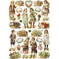 Vintage-Glanzbilder, Kinder und Blumen, 16,5x23,5 cm, 3 Bl./ 1 Pck