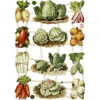 Vintage-Glanzbilder, Gemüse, 16,5x23,5 cm, 3 Bl./ 1 Pck