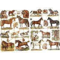 Vintage-Glanzbilder, Pferde, 16,5x23,5 cm, 2 Bl./ 1 Pck