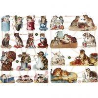 Vintage-Glanzbilder, Katzen, 16,5x23,5 cm, 2 Bl./ 1 Pck