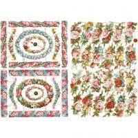 Vintage-Glanzbilder, Kleine Blumen, 16,5x23,5 cm, 2 Bl./ 1 Pck