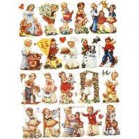 Vintage-Glanzbilder, Kinder nostalgisch, 16,5x23,5 cm, 2 Bl./ 1 Pck