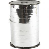 Kräuselband, B: 10 mm, Glänzend, Metallic-Silber, 250 m/ 1 Rolle