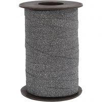 Kräuselband, B: 10 mm, Glitter, Schwarz, 100 m/ 1 Rolle