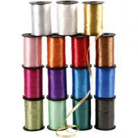 Kräuselband - Sortiment , B: 10 mm, Glänzend, Sortierte Farben, 15x250 m/ 1 Pck