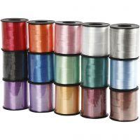 Kräuselband - Sortiment , B: 10 mm, Glänzend, Sortierte Farben, 15x50 m/ 1 Pck