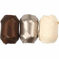 Kräuselband, B: 10 mm, Braun, Metalic-gold, Hellnatur, 3x10 m/ 1 Pck