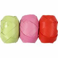 Kräuselband, B: 10 mm, Lime, Pink, Rot, 3x10 m/ 1 Pck