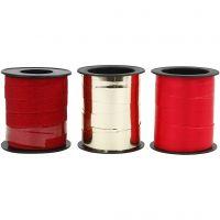 Kräuselband, B: 10 mm, Gold, Rot, Rot mit Glitter, 3x15 m/ 1 Pck