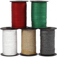 Kräuselband, B: 10 mm, Glitter, Sortierte Farben, 5x100 m/ 1 Pck