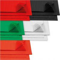 Wabenpapier - Sortiment, 28x17,8 cm, Weiß, 5x8 Bl./ 1 Pck