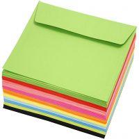 Farbige Briefumschläge - Sortiment, Umschlaggröße 16x16 cm, 80 g, Sortierte Farben, 10x10 Stk/ 1 Pck