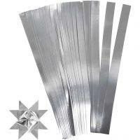 Papierstreifen für Sterne, L: 45 cm, D: 4,5 cm, B: 10 mm, Silber, 100 Streifen/ 1 Pck
