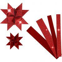 Papierstreifen für Fröbelsterne, L: 44+78 cm, D: 6,5+11,5 cm, B: 15+25 mm, Glitter,Lack, Rot, 40 Streifen/ 1 Pck
