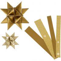Papierstreifen für Fröbelsterne, L: 44+78 cm, D: 6,5+11,5 cm, B: 15+25 mm, Glitter,Lack, Gold, 40 Streifen/ 1 Pck