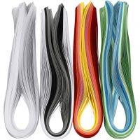 Quilling-Streifen, L: 78 cm, B: 5 mm, 120 g, Sortierte Farben, 12x100 Stk/ 1 Pck