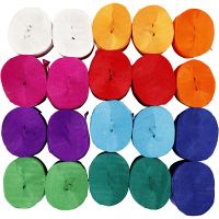 Krepppapier-Streifen, L: 20 m, B: 5 cm, 22 g, Sortierte Farben, 20 Rolle/ 1 Pck