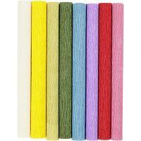 Krepppapier, 25x60 cm, Kreppanteil: 180%, 105 g, Standard-Farben, 8 Bl./ 1 Pck
