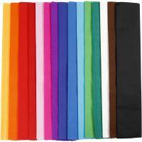 Krepppapier, L: 2,5 m, B: 50 cm, 22 g, Sortierte Farben, 15 Lage/ 1 Pck