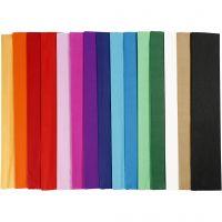 Krepppapier, L: 2,5 m, B: 50 cm, 22 g, Sortierte Farben, 60 Lage/ 1 Pck