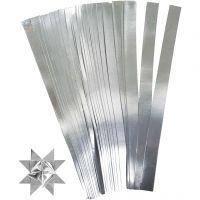Papierstreifen für Sterne, L: 45 cm, D: 6,5 cm, B: 15 mm, Silber, 100 Streifen/ 1 Pck