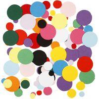 Karton-Mosaik, Rund, D: 10+15+20 mm, 180 g/ 1 Pck