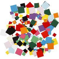 Karton-Mosaik, Quadrat, Größe 10+15+20 mm, 180 g/ 1 Pck