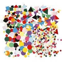 Karton-Mosaik, Größe 10+15+20 mm, Sortierte Farben, 8x180 g/ 1 Pck